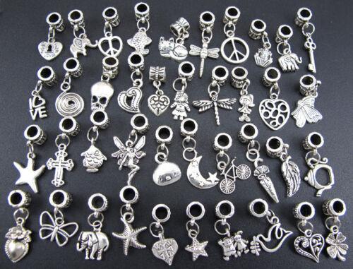 40pcs lots Wholesale Tibetan Silver Charm Fit Chaîne Européenne Bracelet Hot