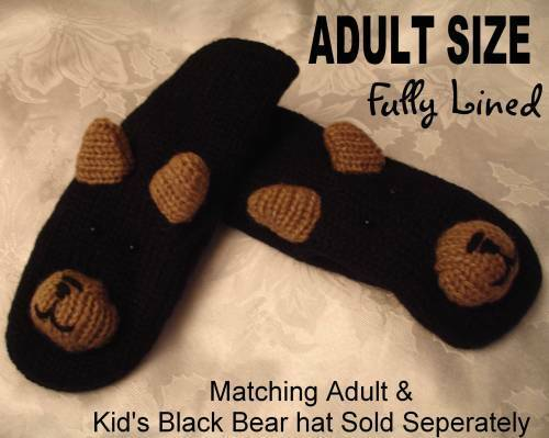 BLACK BEAR MITTENS puppet ADULT chicago hands UNISEX knit animal costume CUBS