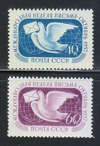 Russia-1957-MNH-Sc-1985-1986-Mi-1990-1991-Letter-Writing-Week-amp-Dove