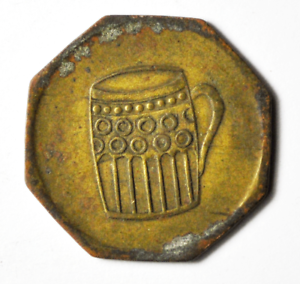 Luxembourg-Remich-Beer-Stein-Octagon-Copper-Trade-Token-Nic-Cigrano-24mm
