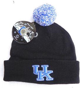 KENTUCKY-WILDCATS-BLACK-NCAA-VINTAGE-KNIT-RETRO-BEANIE-POM-WINTER-CAP-HAT-NWT