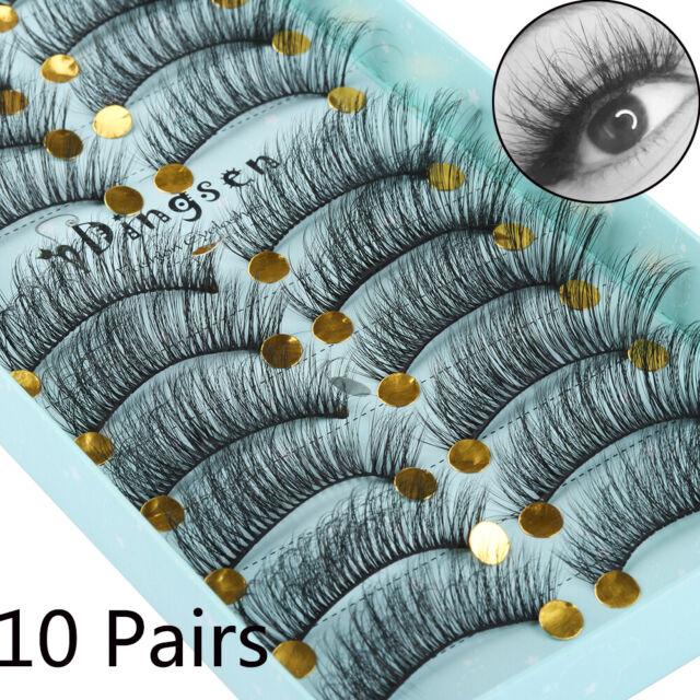 10 Pairs 3D Mink False Eyelashes Wispy Fluffy Natural Long Lashes Handmade