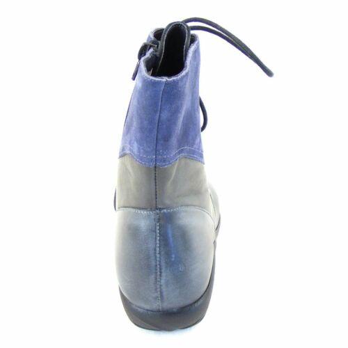 Naot Damen Schuhe Stiefeletten Atopa Echt-Leder grau blau combi Fußbett 16032