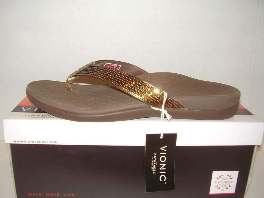 NEW VIONIC WITH ORTHAHEEL TIDE SQ TOE POST SEQUINS-BRONZE FLIP FLOPS SZ 11