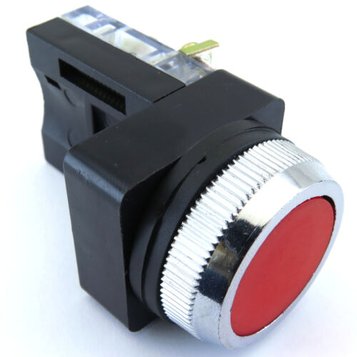 PB-30MOMF-R-11 30mm PUSHBUTTON MOMENTARY W. LEGEND PLATE STOP