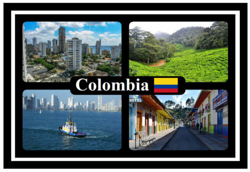 SOUVENIR NOVELTY FRIDGE MAGNET COLOMBIA FLAGS // SIGHTS BRAND NEW // GIFT