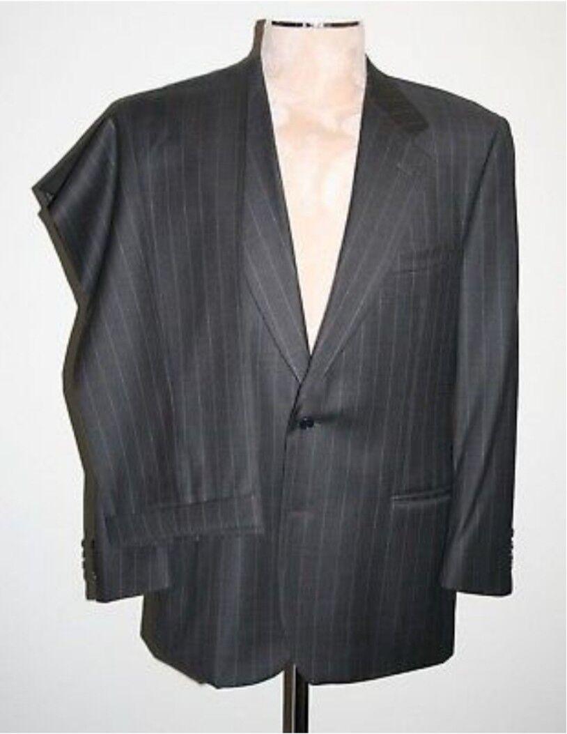 6390 BRIONI Striped Wool Notch Suit grau Größe 52