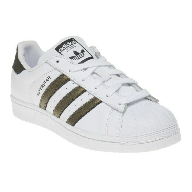 New WOMENS ADIDAS WHITE SUPERSTAR LEATHER Sneakers Court