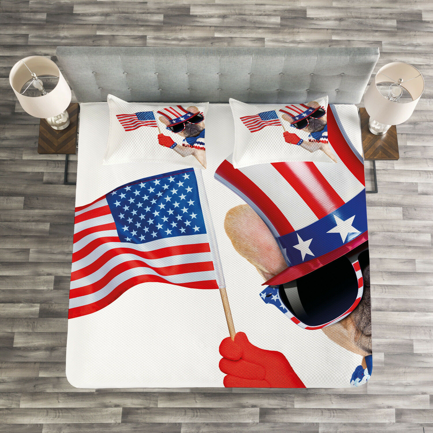 4th of July Quilted Bedspread & Pillow Shams Set, Patriotic Pug Dog Print