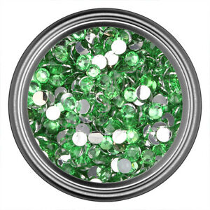 Light-Green-Resin-Rhinestone-Gem-2mm-3mm-4mm-5mm-6mm-Flat-Back-Nail-Art
