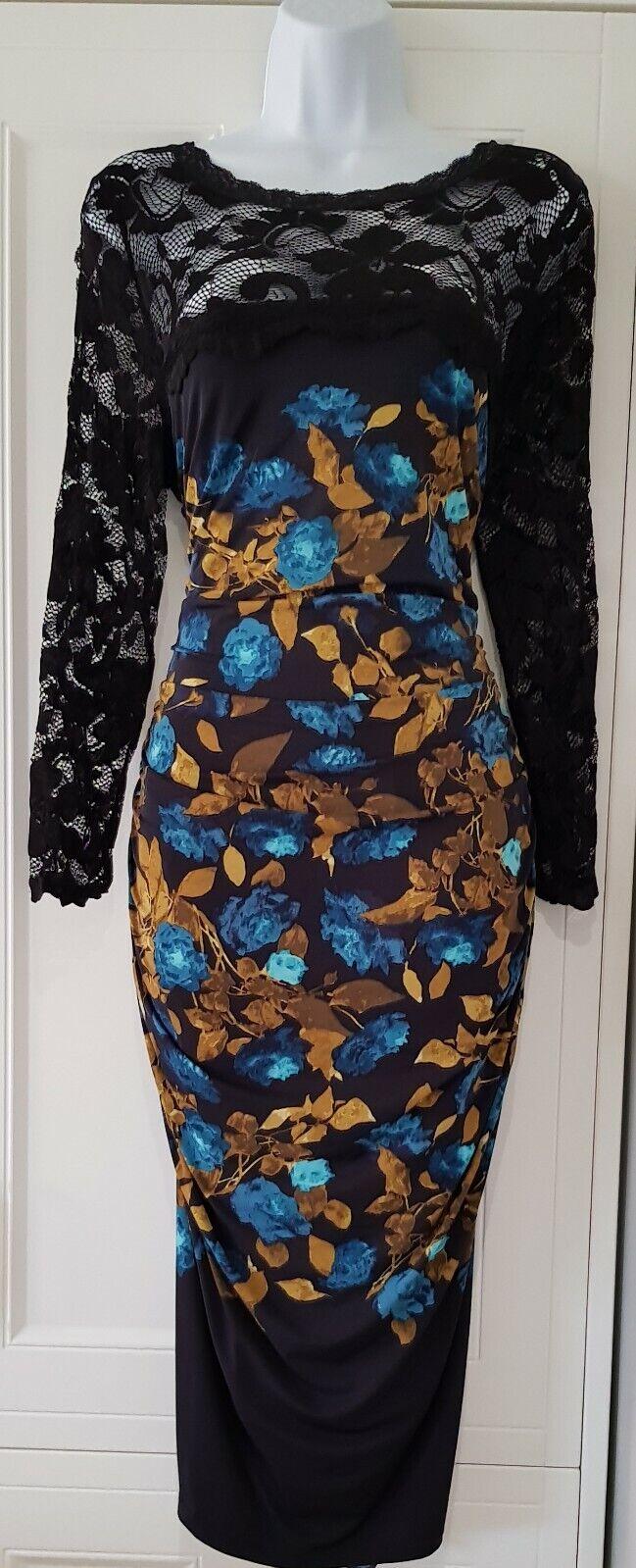 Da Donna Phase Eight nero verde acqua pizzo elasticizzato slinky Increspato Cocktail Party Dress 14