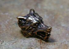 Bartperle Perle Wolfskopf Bronze + Gummi Haarschmuck 9mm Öffnung Fenris Viking