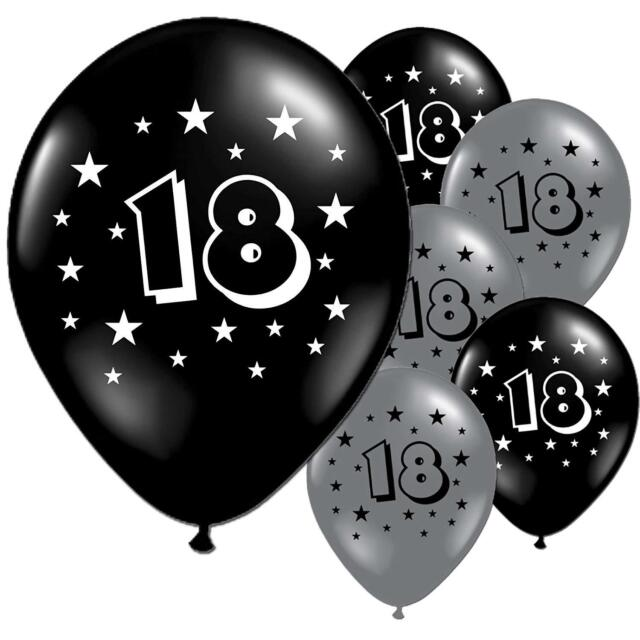 10 Black And Silver 18th Birthday Party Balloons