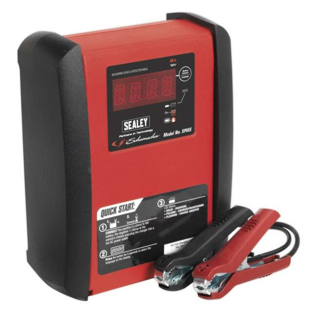 1x Sealey 6 Amp 12V Intelligent Speed Charge Battery Charger - SPI6S