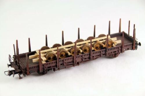 Ladegüter Bauer alte Eisenbahnachsen im Holzladegestell 110mmm H01301