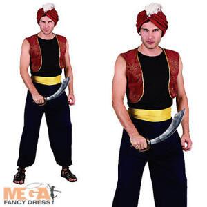 Image is loading Arabian-Bandit-Hat-Mens-Fancy-Dress-Aladdin-Genie-  sc 1 st  eBay & Arabian Bandit + Hat Mens Fancy Dress Aladdin Genie Adults Costume ...