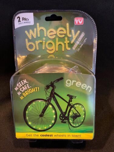 New JML Wheely Bright LED GREEN Bike Lights 2 Pack fits 2 wheels