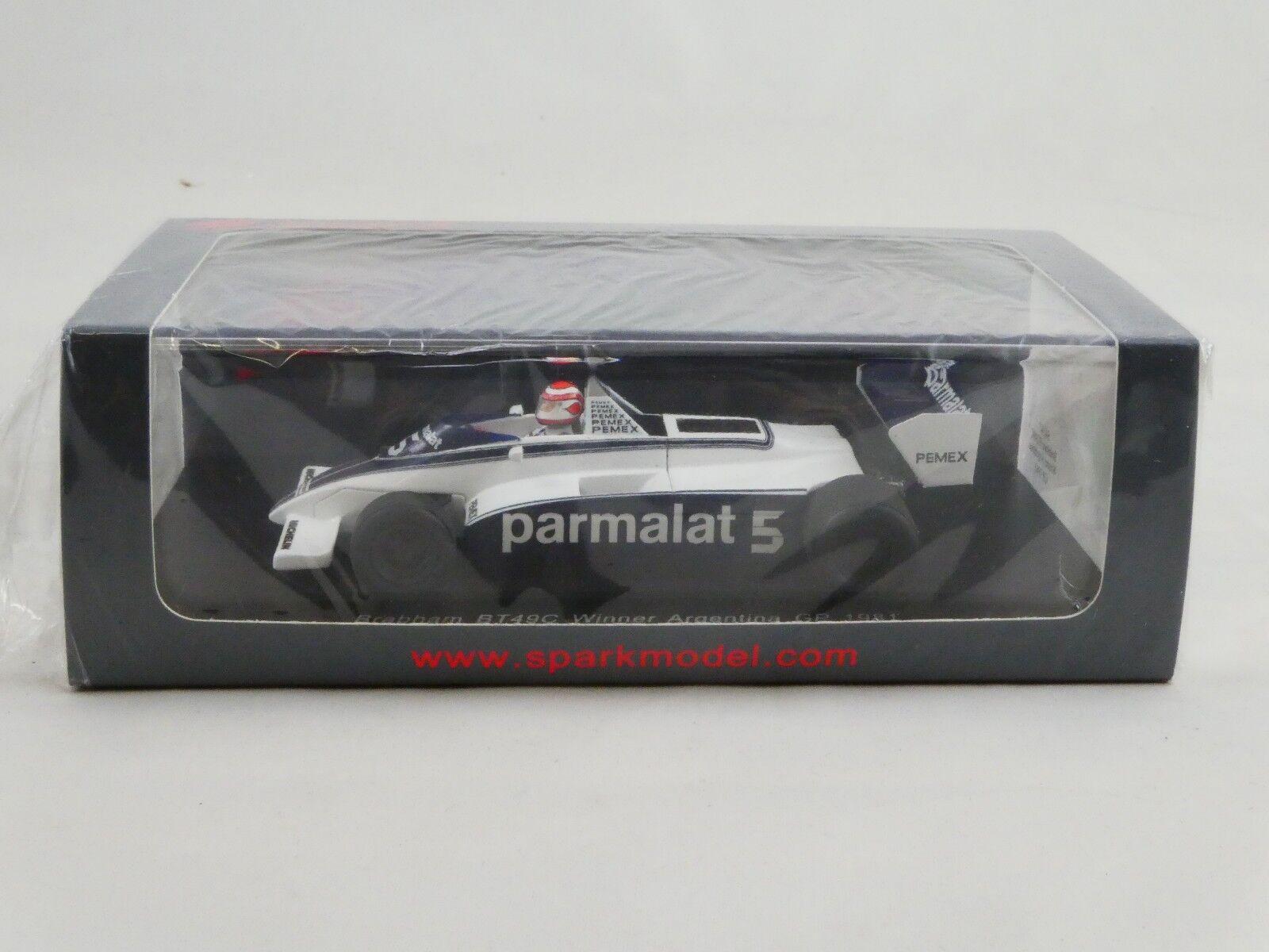 Spark Brabham BT49C N. Piquet Argentina GP World Champion 1981 1/43 S4347
