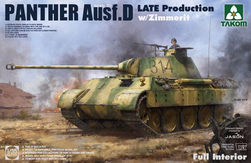 Takom 1 35 Sd.Kfz.171 Panther Ausf. D Late Production with Zimmerit & Full Inter