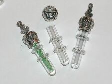 1 Crown cross cap little Ring tube Glass vial bottle charm pendant plated 5mm