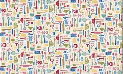 Retro Bake Utensils Cream 100% Cotton Fabric by Makower FQ