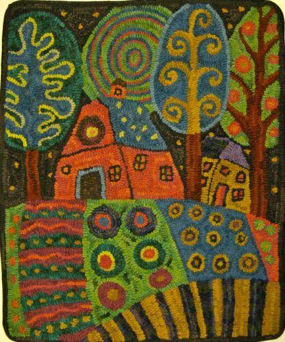 RUG HOOKING CRAFT PAPER PATTERN Barn Garden Landscape Folk Art KARLA GERARD