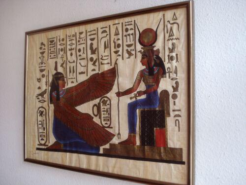 Ägypten Gemälde ägyptische Malerei Papyrus handgemalt Aquarell 83x63 cm