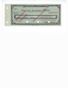 SPECIMEN-TRAVELERS-CHECK-20-MELLON-NATIONAL-BANK-CIRCA-1930-40-UNC