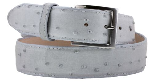 Mens Genuine Leather Ostrich Belt Quill Pattern Western Off White Cinto Rancho