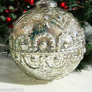 SILVER MERCURY GLASS PATTERNED KUGEL STYLE GLASS CHRISTMAS ORNAMENT. GORGEOUS!