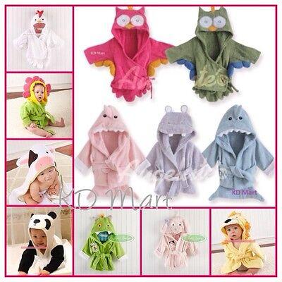 New Baby girl boys Animal Owl Hippo Shark hooded bath//beach towel bathwrap 0-24M