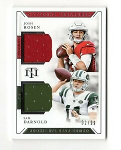 DARNOLD / ROSEN NFL 2018 NATIONAL TREASURES ROOKIE GEAR COMBO MATERIAL (JETS)
