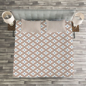 Geometric Quilted Bedspread /& Pillow Shams Set Ring Formed Circles Print