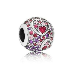 925-Sterling-Silver-Asymmetric-Heart-Love-Charm-Red-Pink-CZ-Royal-Purple-Crystal