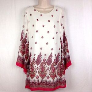 1397b7334165d0 NWT Lady Noiz Womens S Tunic Top Shirt Cream Pink Paisley Floral ...