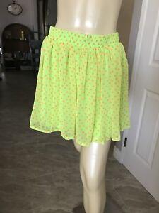 70e212a3b6 Women s Nieman Marcus Exclusive SILK neon green skater Skirt Sz MED ...