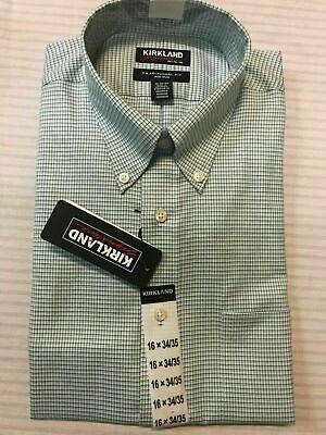 XL 17X32//33, Navy Blue White Mini Plaid Kirkland Signature Mens Traditional Fit Non-Iron Button Down Collar Dress Shirt