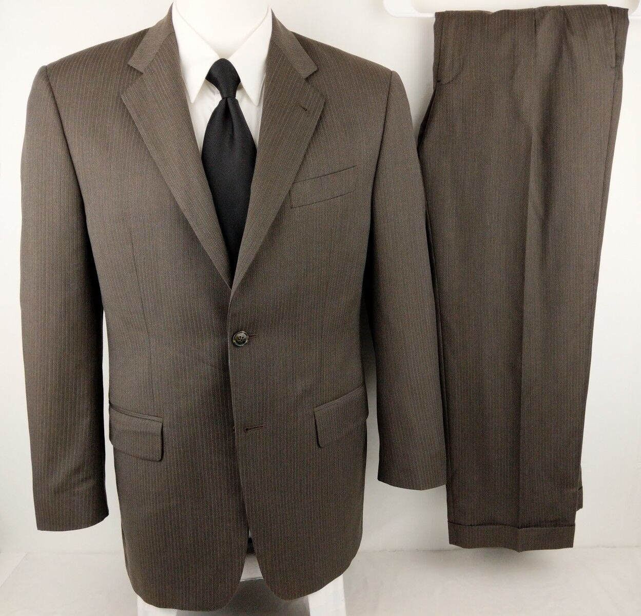 JOSEPH ABBOUD 40R Light Brown Summer 2 Btn Striped Wool Suit 34