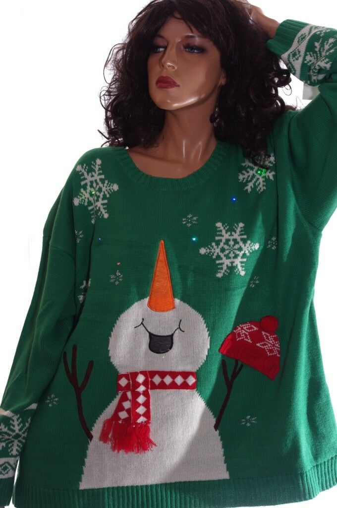3x Ugly Christmas Sweater.Womens Frosty The Snowman Ugly Christmas Sweater Party Light Plus Size 1x 3x New