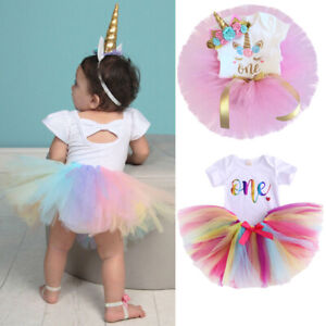 3PC Baby Girl Romper+Tutu Skirt Cake Smash Outfit 1st Birthday Party Clothes Set