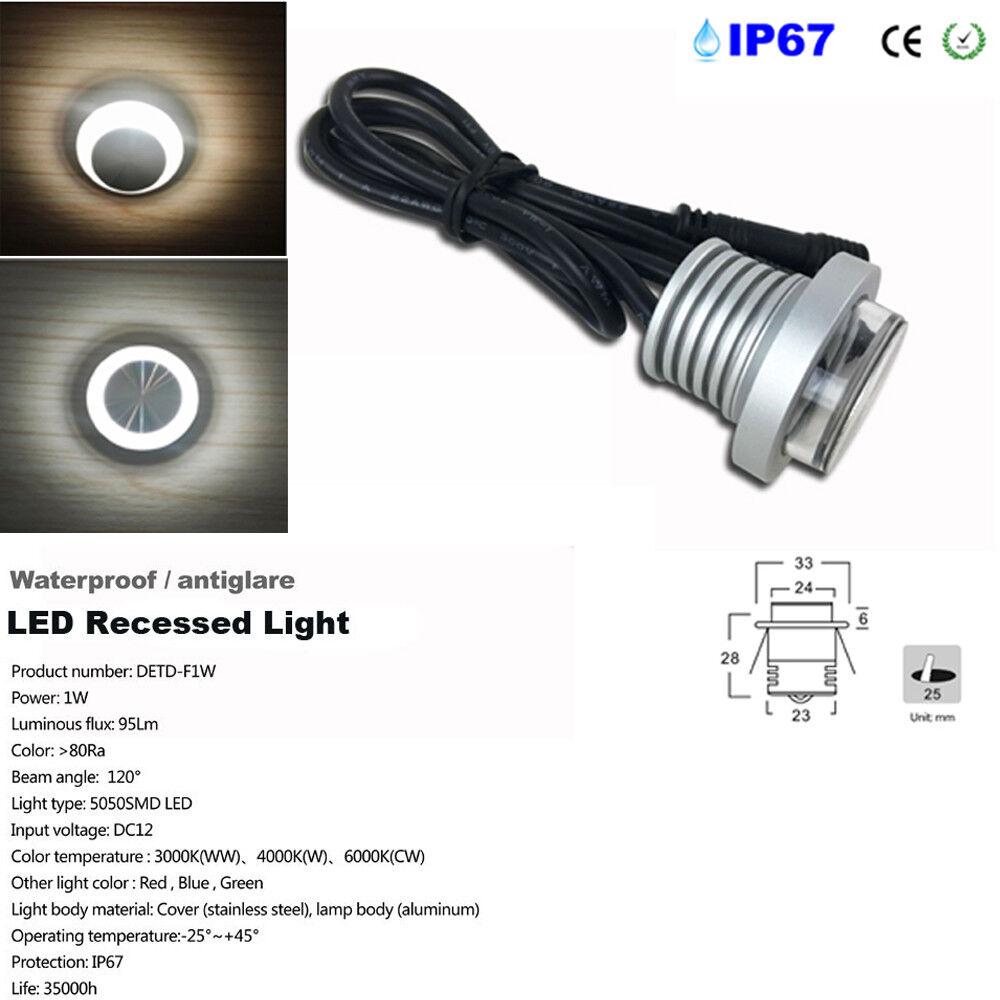 12 un. 1W 12V IP67 LED Empotrada Antirreflejo Hall KTV porche Mini Downlight de techo