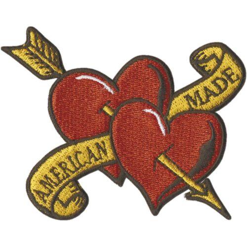 aplicación Patch emblema 9,5 x 7,5cm corazones ☆ Biker ☆ American Made ☆ 04662