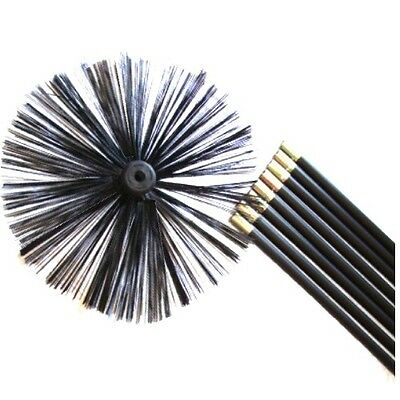 Chimney Cleaning Brush Sweep Sweeping Set Kit Drain Rods