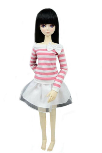 PF Clothes 1//4 MSD DOD BJD Dollfie 108# Pink And White Striped Dress Dress