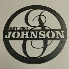 """1002- 23""""  Metal Personalized Monogram Letter Home decor w/ Name and Est. Date"""