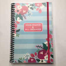 Home Finance Bill Organizer With Pockets Blue Stripes Pink Flowers Budget Planner