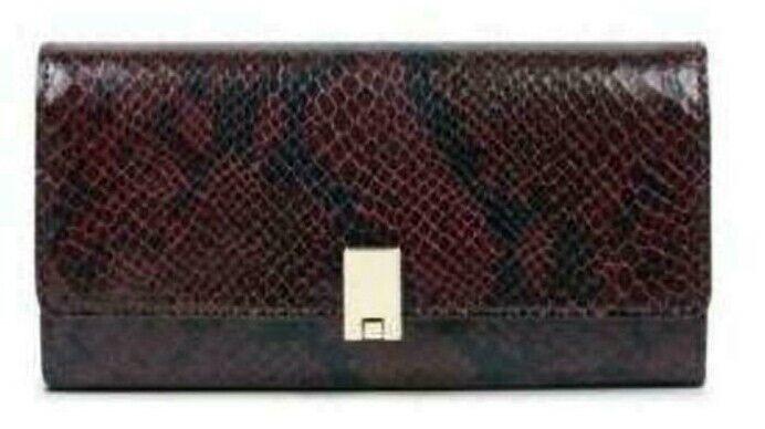 Nine West NEW Mod Burgundy Python Continental Clutch Wallet Index Phone Slot