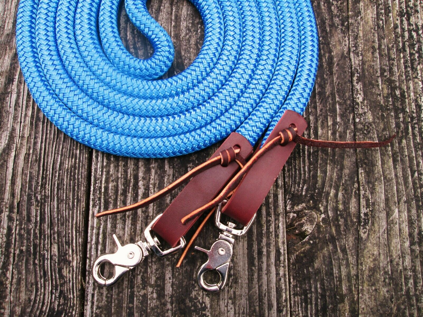 blueE Yacht Rope  Loop Reins Leathers Snaps 12' x 9 16  Trail Training Draft Horse  deals sale