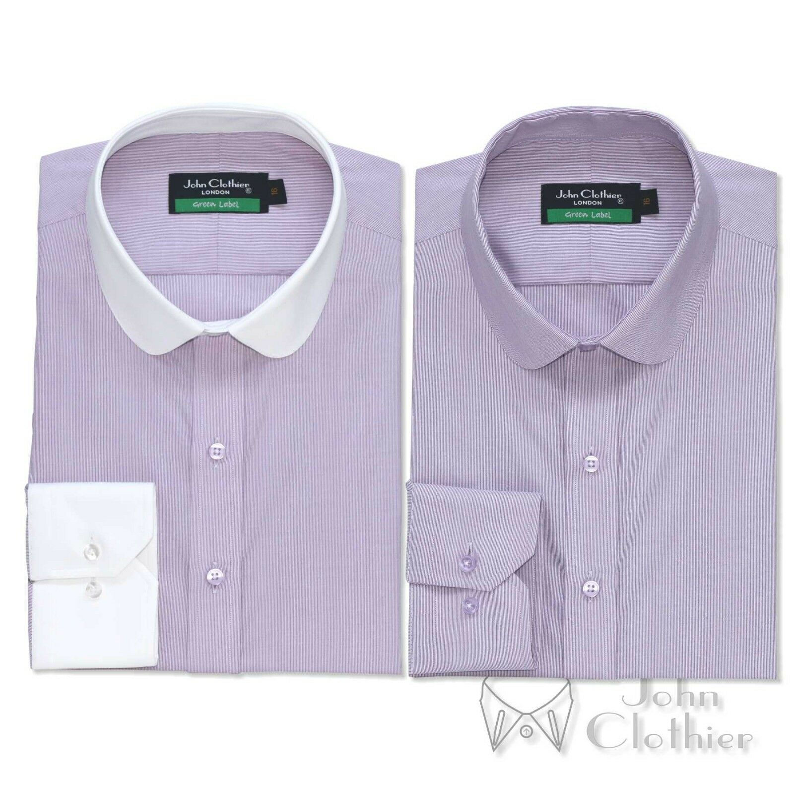 Penny collar Cotton Men shirt lila pin stripes Banker Weiß Club Round Gent