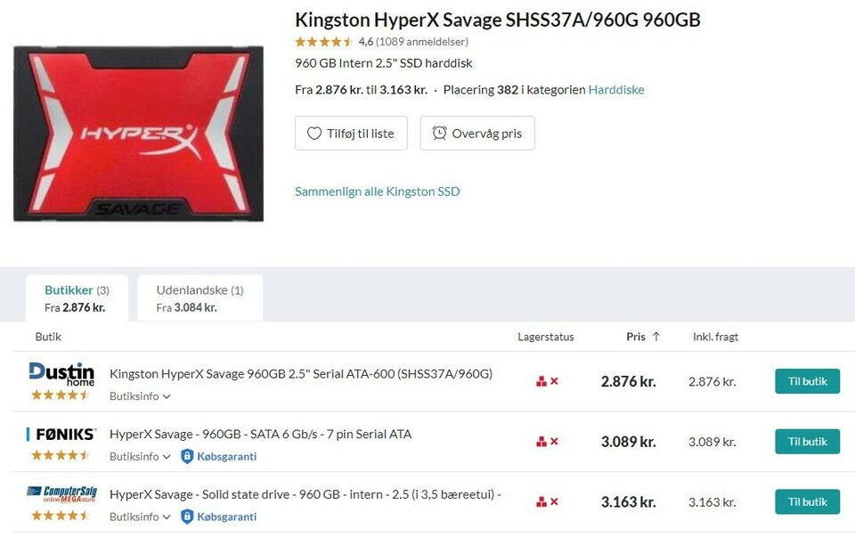 Kingston, 960 GB